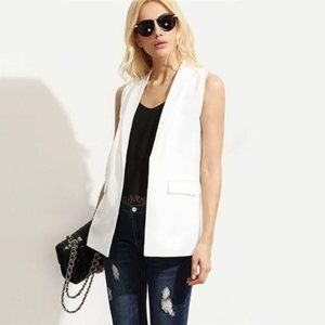 Mossimo White Open Front Waistcoat